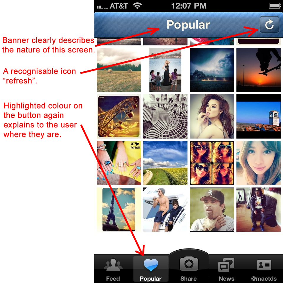 Instagram app design