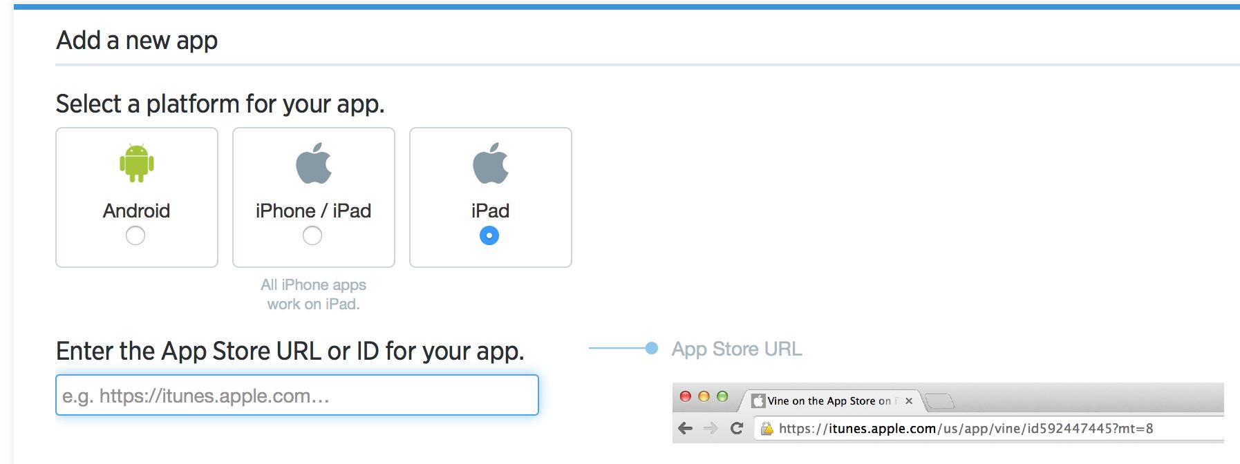 Enter your App store URL
