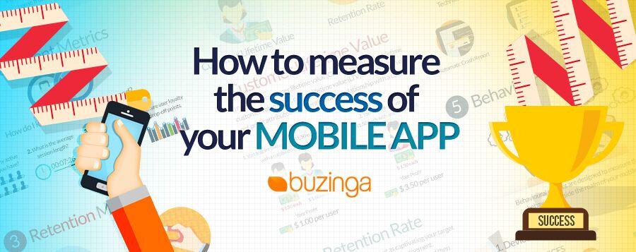an infographic on how to measure app success buzinga