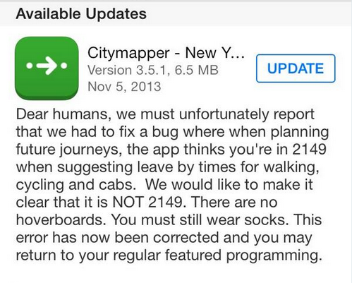 city mapper funny release note