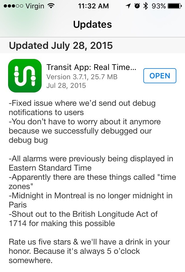 transit app release notes funny