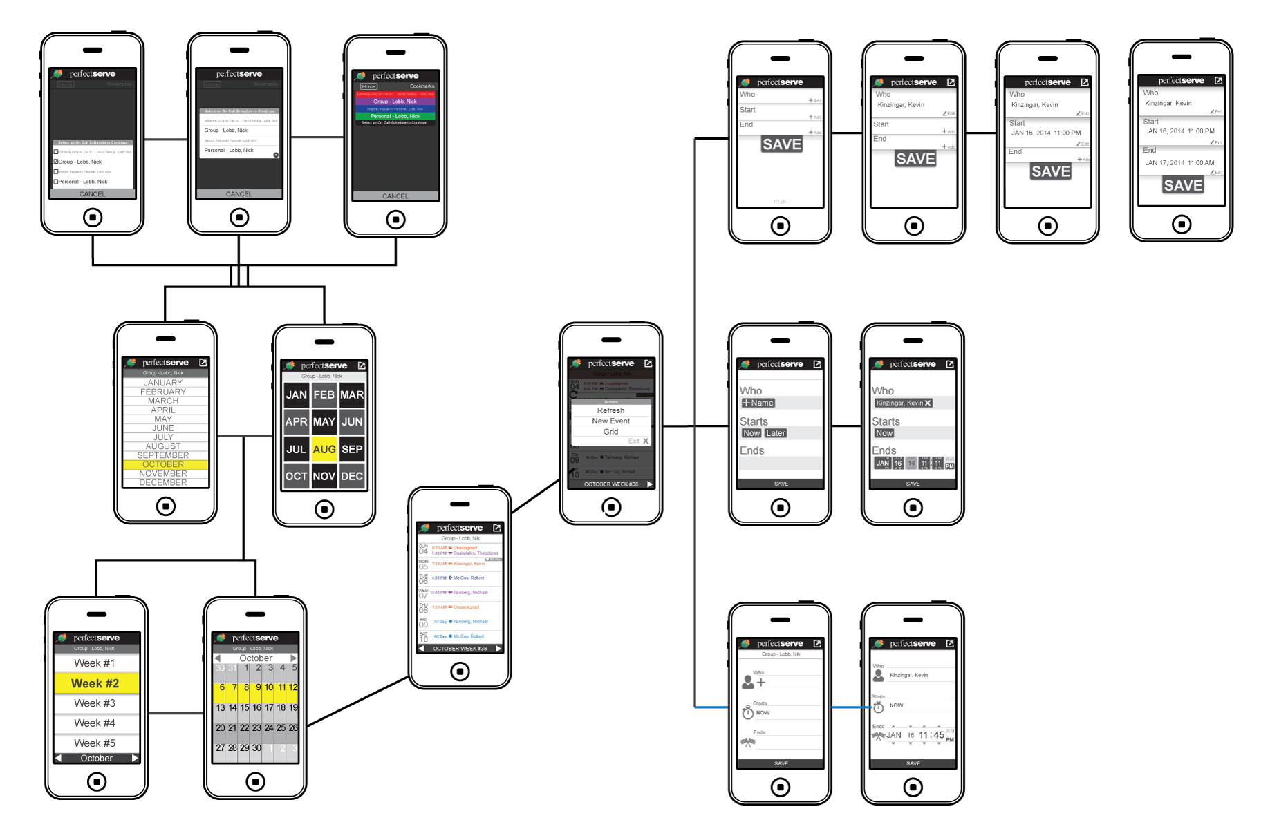 app flow screens