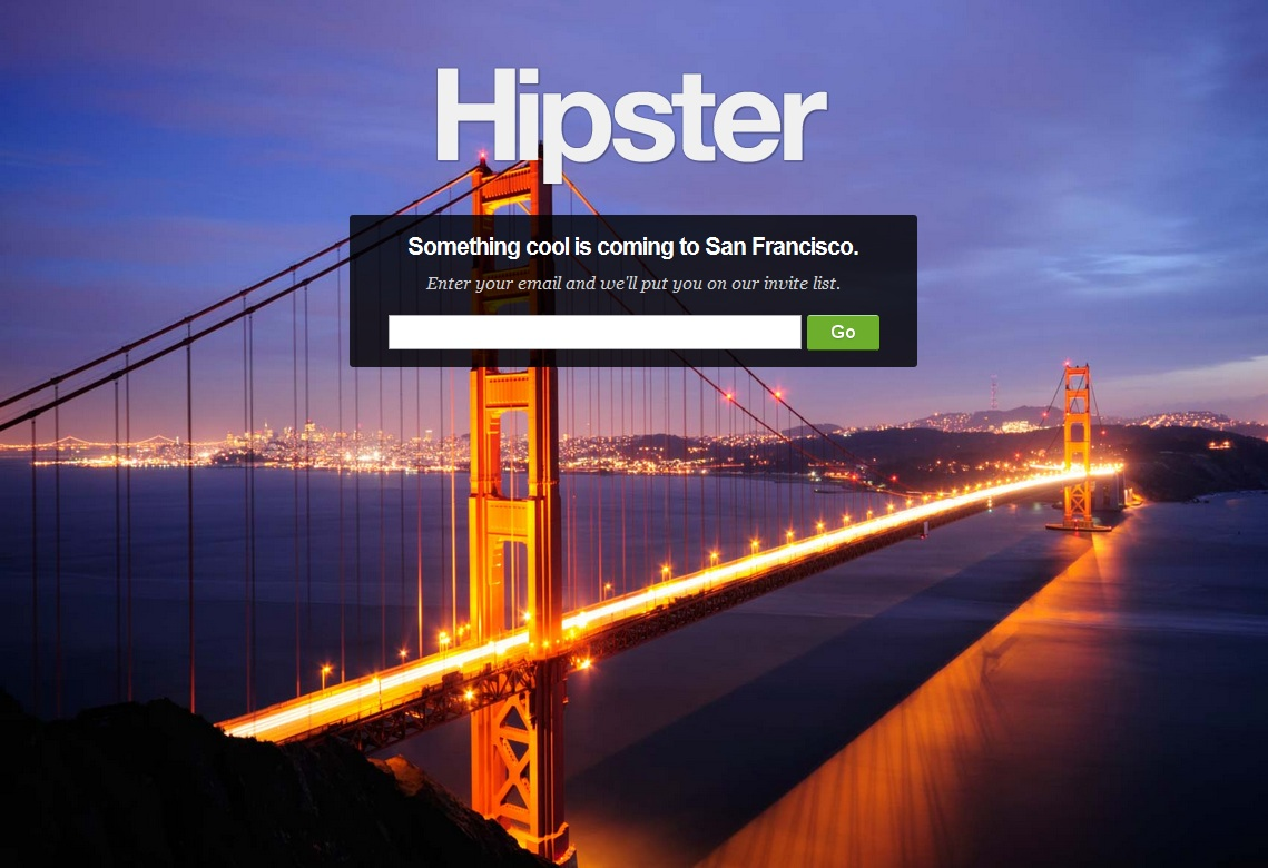 Hipster pre-launch landing page design