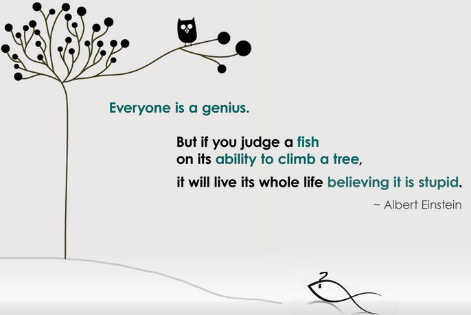 Everyone is a genius. But if you judge a fish by its ability to climb a tree, it will spend its whole life believing it is stupid.