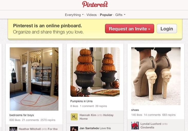 pinterest request an invite button