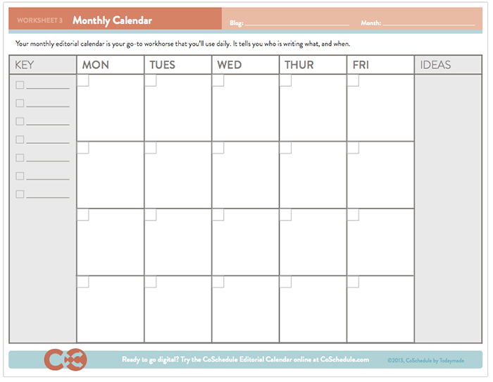 Coschedule monthly content calendar template