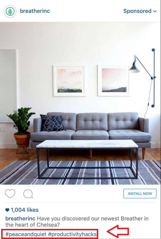 using hashtags on Instagram app install ads