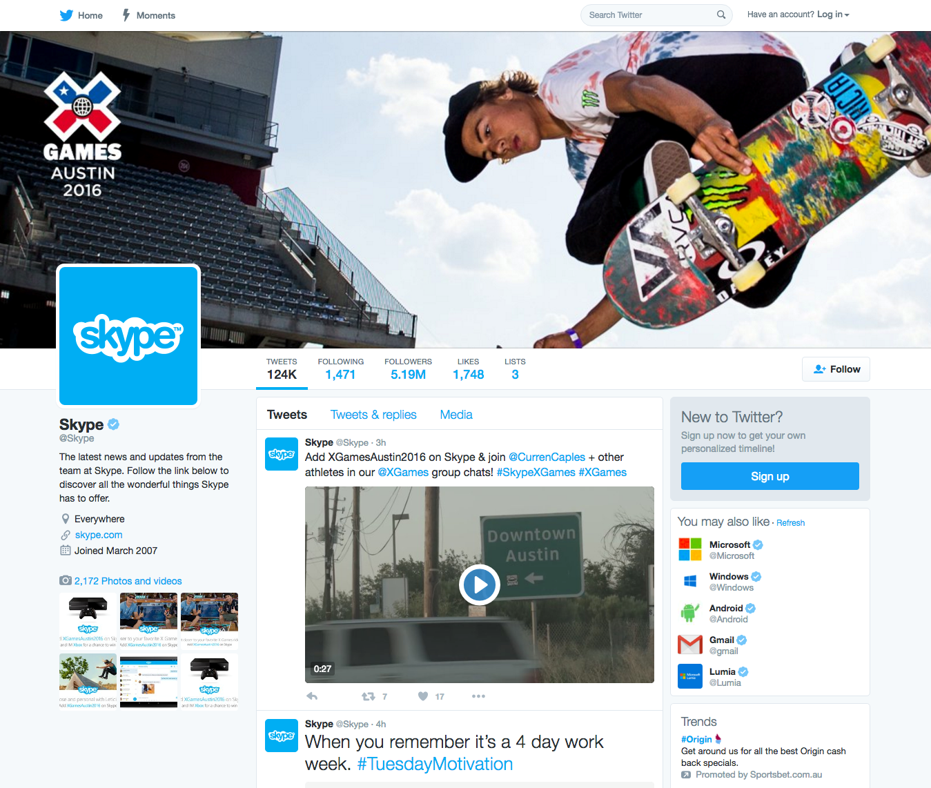 skype twitter page