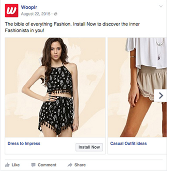 Wooplr Facebook carousel ad