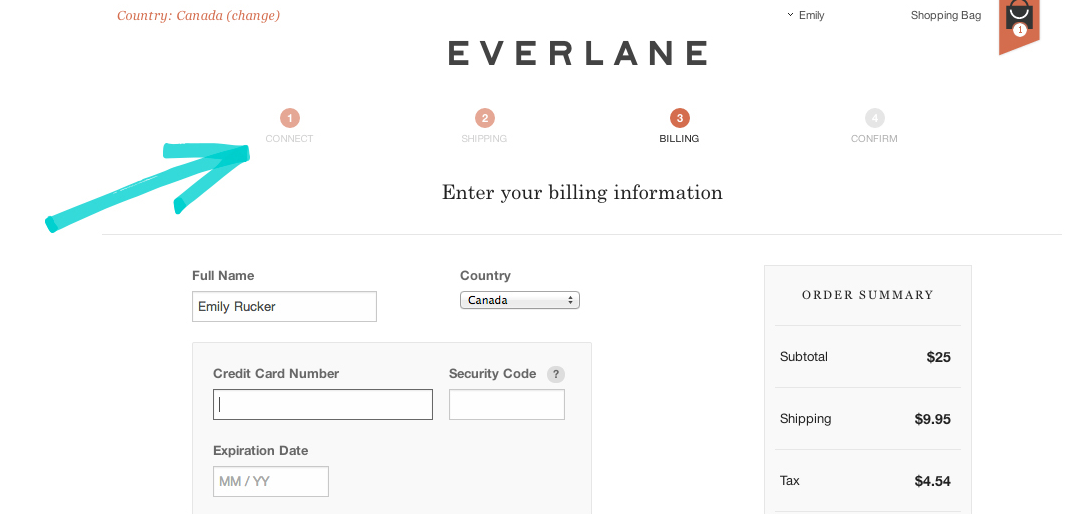 Everlane checkout process