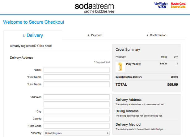 Soda stream overview of checkout process