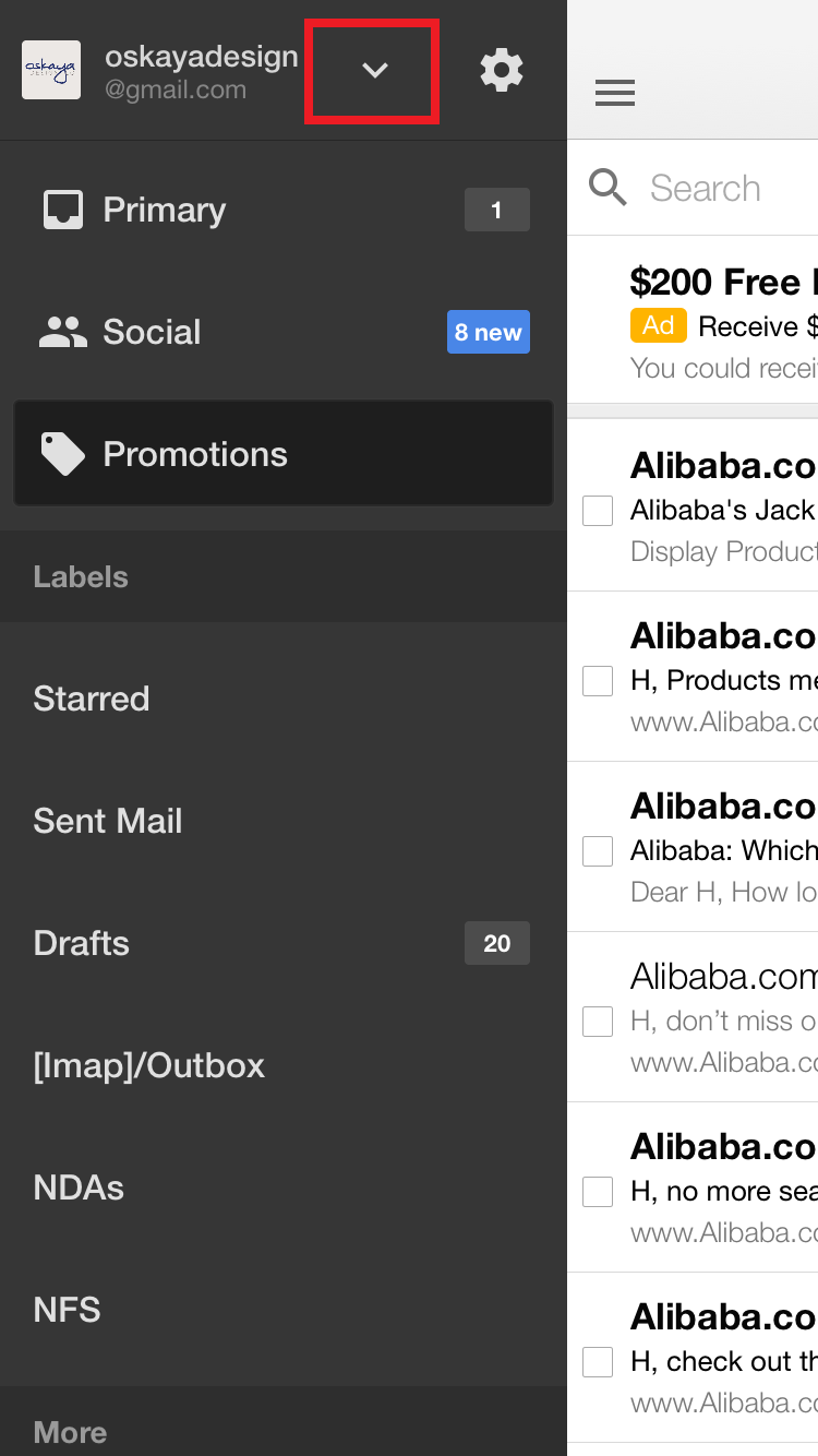 Gmail mobile app inbox