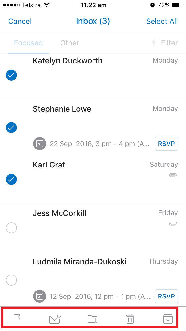 outlook mobile app inbox screenshot