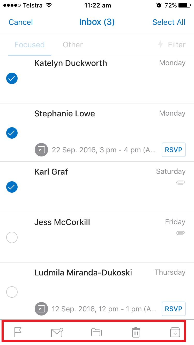 outlook mobile app inbox screenshot