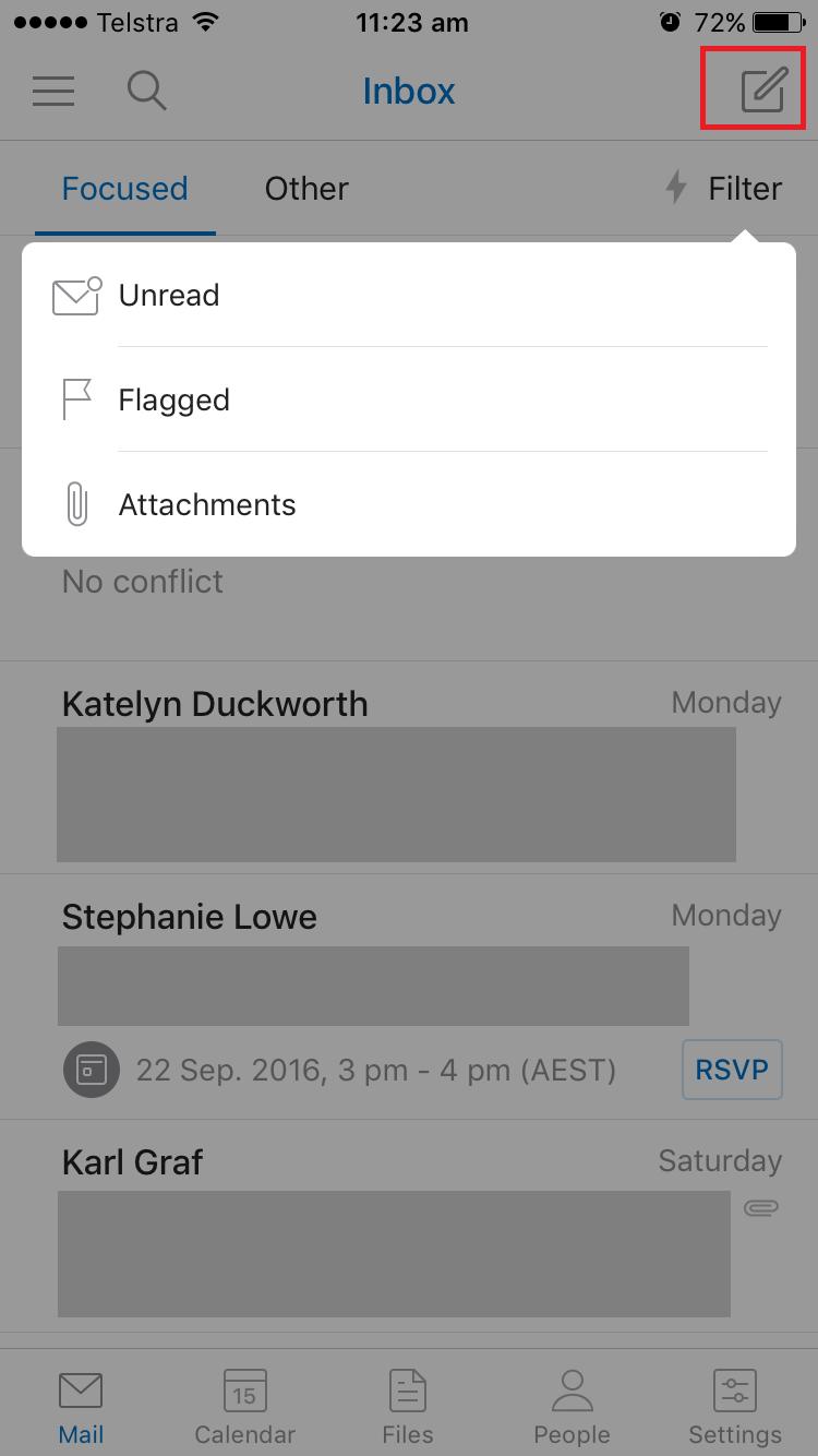 Outlook mobile app inbox