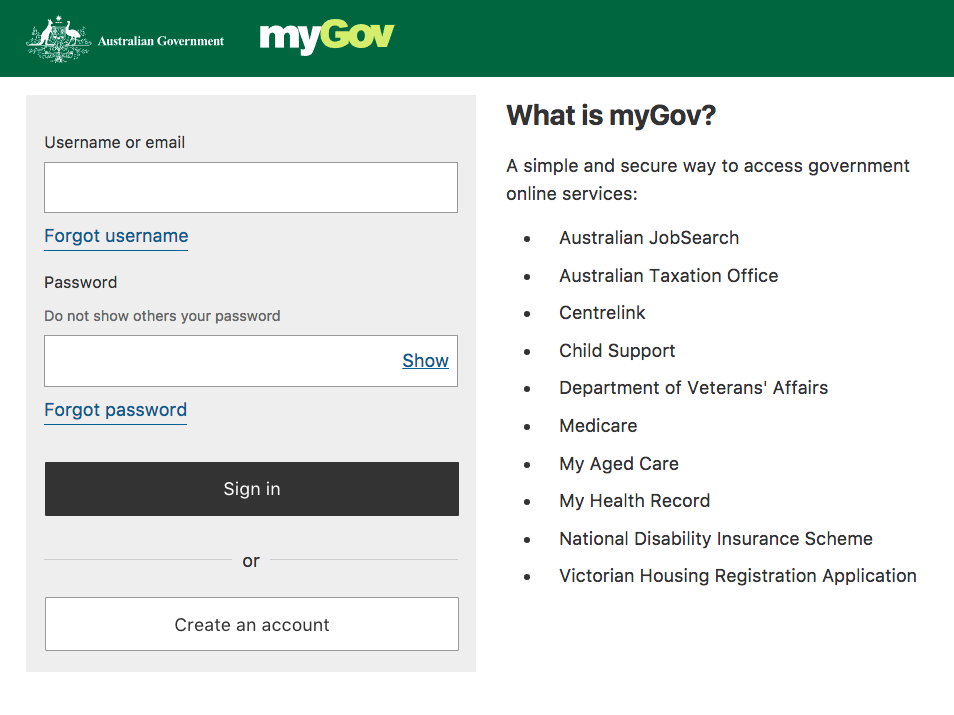 Mygov Signing in process