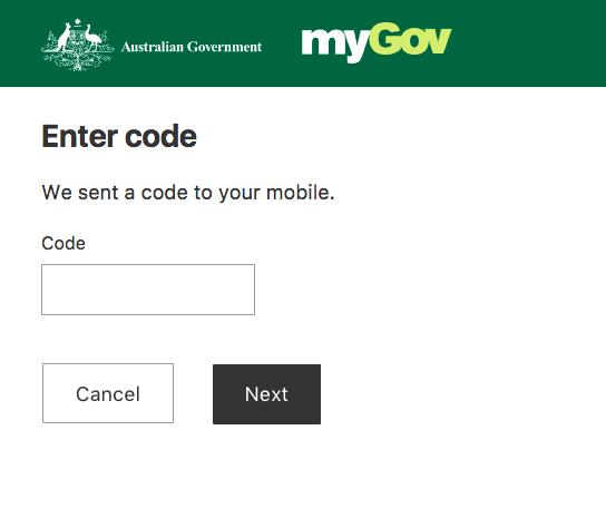 Mygov login code